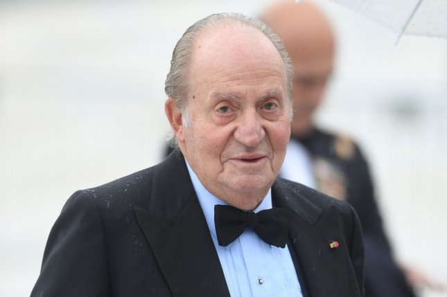 Spanish King Juan Carlos attends a gala banquet to celebrate King Harald V and Queen Sonja's 80th birthdays at the Opera House in Oslo on May 5, 2017. The king abdicated the throne amid scandal, massive unemployment and regional separatism. File Photo by Rune Hellestad/UPI