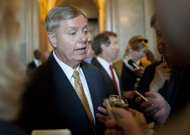 Sen. Lindsey Graham, R-S.C., says President Obama should pick up the phone and call Sen. John McCain, R-Ariz., to discuss a way forward to avert the fiscal cliff looming at the end of the year. May 8 file photo. UPI/Kevin Dietsch