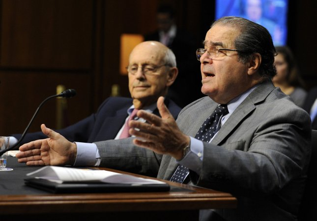 Supreme Court Justices Stephen Breyer (L) and Antonin Scalia testify before the Senate Judiciary Committee hearing titled Considering the Role of Judges Under the Constitution of the United States on Capitol Hill in Washington on October 5, 2011. UPI/Roger L. Wollenberg