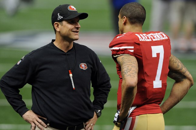 Former San Francisco 49ers head coach Jim Harbaugh said quarterback Colin Kaepernick was courageous for his national anthem protests during the 2016 NFL season. File Photo by John SooHoo/UPI