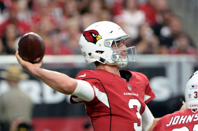 Arizona Cardinals rookie Josh Rosen gets off a pass in the first quarter of the Cardinals-San Francisco 49ers game on Sunday at State Farm Stadium in Glendale, Ariz. Photo by Art Foxall/UPI