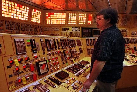 An operator monitors gauges in a control room at the Davis-Bessie Nuclear Power Station in Ottawa County, Ohio. File Photo by Mike Williams/UPI