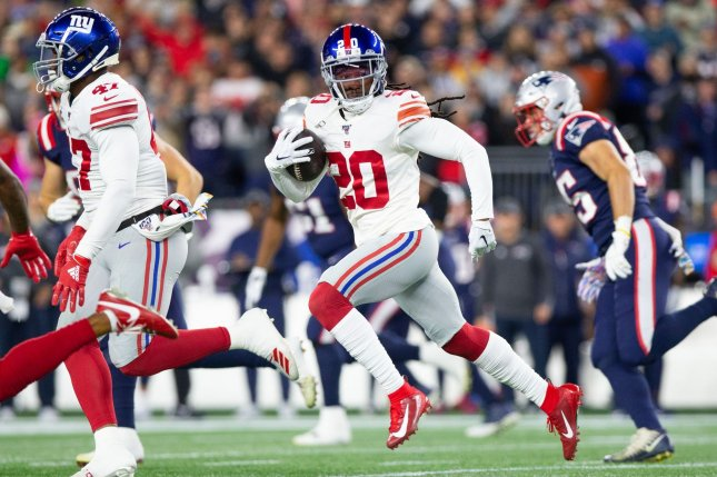 New York Giants cornerback Janoris Jenkins (20) didn't practice Wednesday due to an ankle injury. File Photo by Matthew Healey/UPI