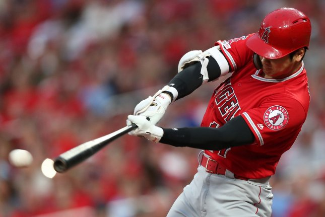 Los Angeles Angels designated hitter/pitcher Shohei Ohtani is the top seed in the 2021 Home Run Derby. File Photo by Bill Greenblatt/UPI