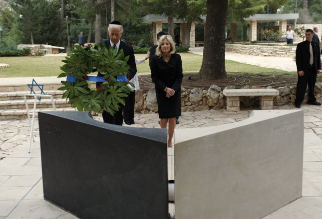 U.S. Vice President Joe Biden and his wife Dr. Jill Biden visit the graves of late Israeli Prime Minister Yitzhak Rabin and his wife Leah, at the cemetery on Mt. Herzel in Jerusalem, on March 9, 2010. UPI/Ariel Schalit/Pool
