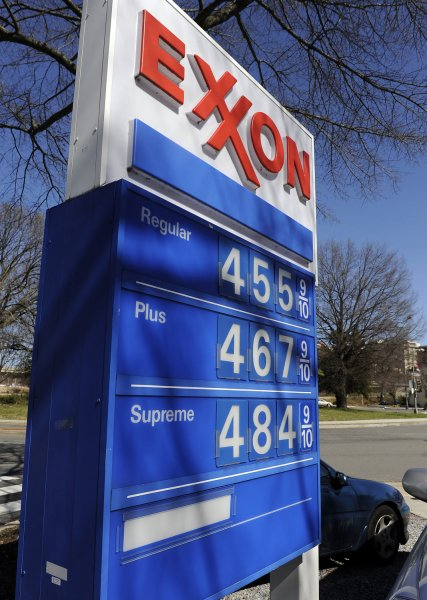 A sign at an Exxon gas station in Northwest Washington boasts gas prices of $4.559 for regular and $4.849 for supreme on March 7, 2011. UPI/Roger L. Wollenberg.