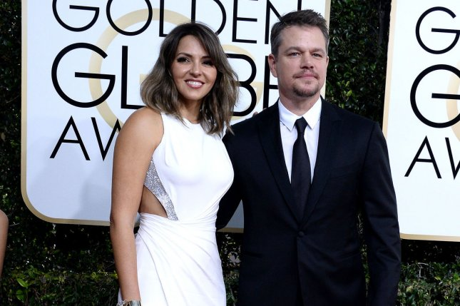 The Great Wall star Matt Damon (R) and his wife Luciana Barroso attend the 74th annual Golden Globe Awards in Beverly Hills on January 8, 2017. File Photo by Jim Ruymen/UPI
