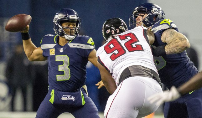 Seattle Seahawks quarterback Russell Wilson gets set to pass during a game against the Atlanta Falcons in November. Photo by Jim Bryant/UPI