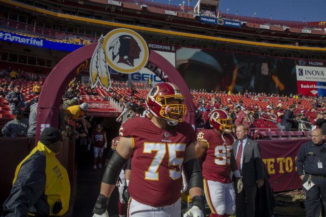 Washington Redskins offensive guard Brandon Scherff (75) takes the field for pregame warm ups against the Atlanta Falcons on Sunday at FedEx Field in Landover, Maryland. Photo by Tasos Katopodis/UPI