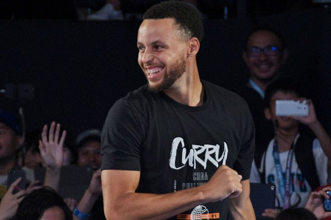 Golden State Warriors guard Stephen Curry attends an Under Armour on September 11 in Tokyo, Japan. Photo by Keizo Mori/UPI