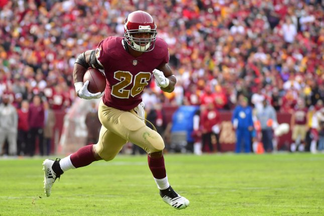 Washington Redskins running back Adrian Peterson started all 16 games in 2018. File Photo by Kevin Dietsch/UPI