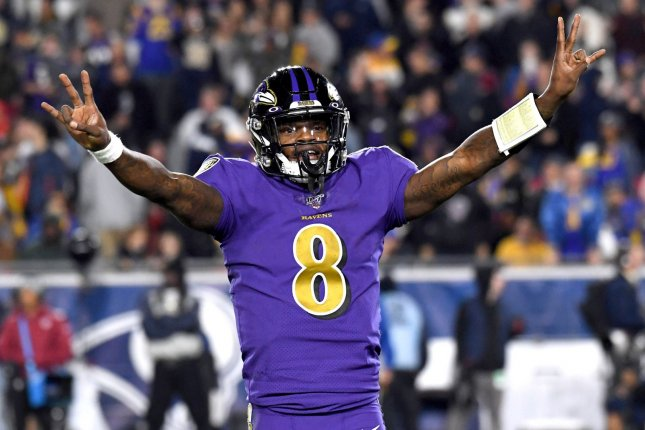 Lamar Jackson and the Baltimore Ravens will host the Cleveland Browns in one of 13 NFL games Sunday. File Photo by Jon SooHoo/UPI