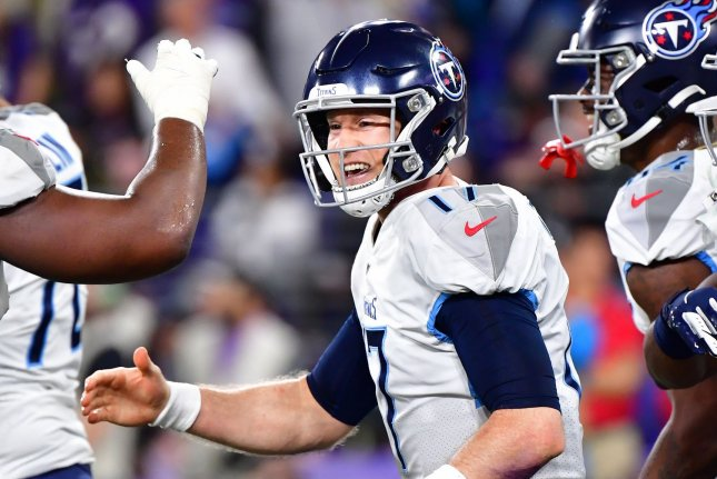 Tennessee Titans quarterback Ryan Tannehill (17) completed 29 of 43 passes for 249 yards and two touchdowns in a win over the Denver Broncos Monday in Denver. File Photo by David Tulis/UPI