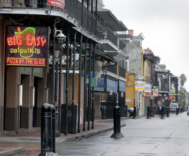Bourbon Street in the New Orleans French Quarter is empty as Hurricane Zeta approaches the area Wednesday. Photo by AJ Sisco/UPI