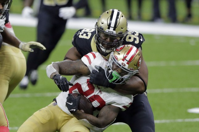 New Orleans Saints defensive tackle David Onyemata (93), shown Nov. 15, 2020, will be able to take part in all preseason games and practices. File Photo by AJ Sisco/UPI