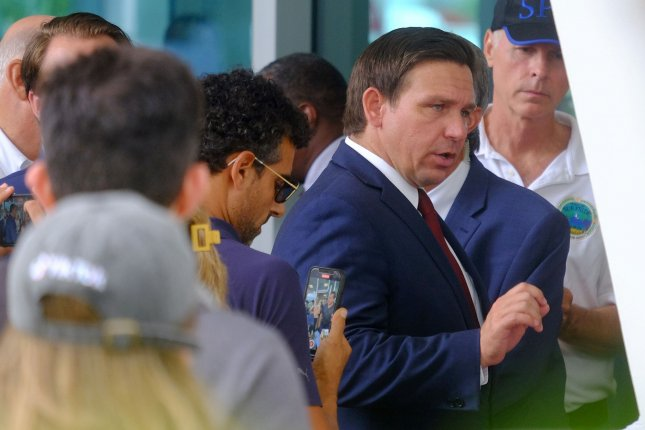 Florida Gov. Ron DeSantis this week said any state or local agency that follows federal advice to mandate proof of vaccination for employees will be fined $5,000 per violation.File Photo By Gary I Rothstein/UPI