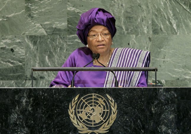 Liberian President Ellen Johnson Sirleaf, who became Africa's first elected female head of state on Jan. 16, 2006, addresses the 67th United Nations General Assembly Sept. 26, 2012. UPI/John Angelillo/File