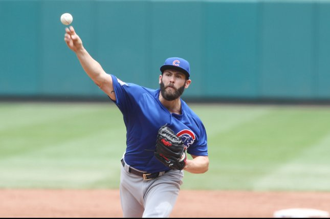 Chicago Cubs starting pitcher Jake Arrieta delivers a pitch to the St, Louis Cardinals in the second inning at Busch Stadium in St. Louis on May 25, 2016. Photo by Bill Greenblatt/UPI