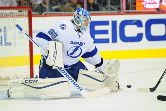 Tampa Bay Lightning goalie Andrei Vasilevskiy (88) makes a save. File photo by Mark Goldman/UPI