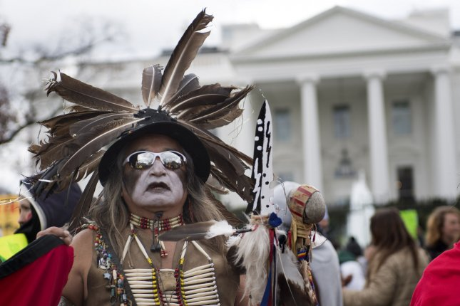 Little Bear, with the Lakota tribe, joined by people of the Standing Rock Sioux Tribe in a protest against the Dakota Access Pipeline on March 10, 2017, in Washington, D.C. A federal judge Monday ordered a new environmental review of the pipeline along with it to be shut down. Photo by Kevin Dietsch/UPI