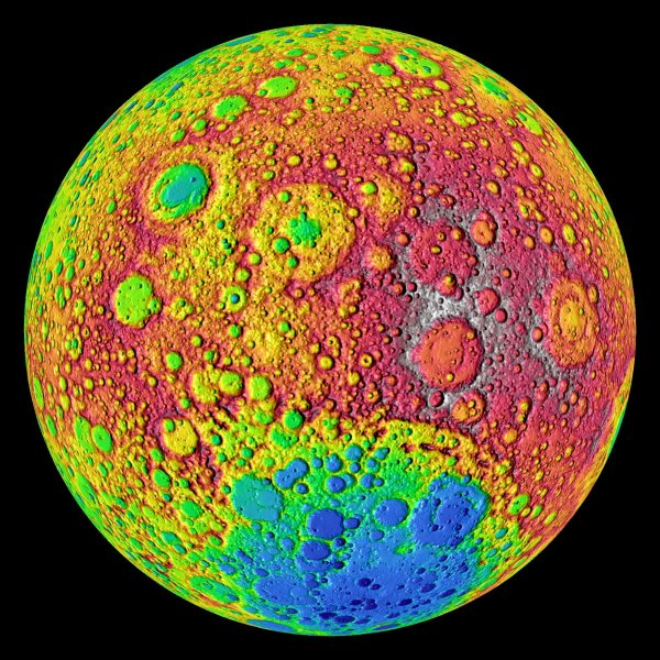 NASA's Lunar Reconnaissance Orbiter's (LRO) LOLA laser altimeter shows a color-coded image of elevations on the far side of the moon, June 24, 2010. The moon's topography is seen from LRO's LOLA instruments with the highest elevations up above 20,000 feet in red and the lowest areas down below -20,000 feet in blue. The Orbiter began orbiting and documenting the Moon one year ago today. UPI/NASA/Goddard