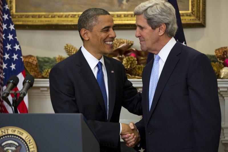U.S. President Barack Obama (L) nominates Sen. John Kerry, D-Mass., (R) to be the next secretary of state, at the White House in Washington, Dec. 21, 2012. UPI/Jim Lo Scalzo/Pool
