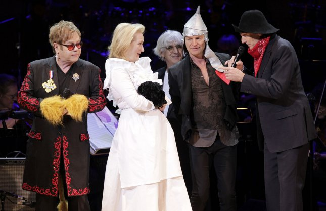 Elton John, Meryl Streep, Sting and James Taylor perform a song from The Wizard of Oz at the Revlon Concert for the Rainforest Fund at Carnegie Hall in New York City on April 3, 2012. UPI/John Angelillo