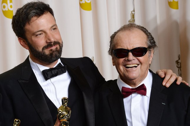 Jack Nicholson (R) and Ben Affleck backstage at the 85th Academy Awards on February 24, 2013. Nicholson is returning to acting alongside Kristen Wiig in Paramount's remake of Toni Erdmann. File Photo by Jim Ruymen/UPI