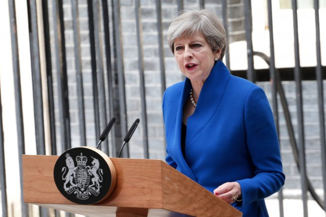 Britain's Prime Minister Theresa May's co-chiefs of staff have resigned following a poor showing by the Tories in this week's parliamentary elections. Photo by Hugo Philpott/UPI