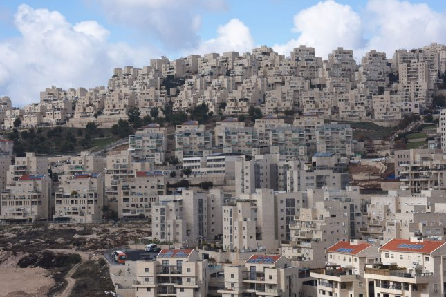 An overview of Jewish housing in the Israeli settlement of Har Homa, located in the West Bank between Jerusalem and Bethlehem, on January 3, 2017. On Wednesday, Israel's Civil Administration approved final construction of 382 new homes on the West Bank. File Photo by Debbie Hill/UPI