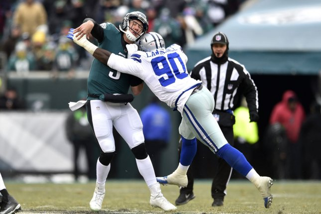 Dallas Cowboys defensive end DeMarcus Lawrence (90) had the franchise tag placed on him Monday. File Photo by Derik Hamilton/UPI