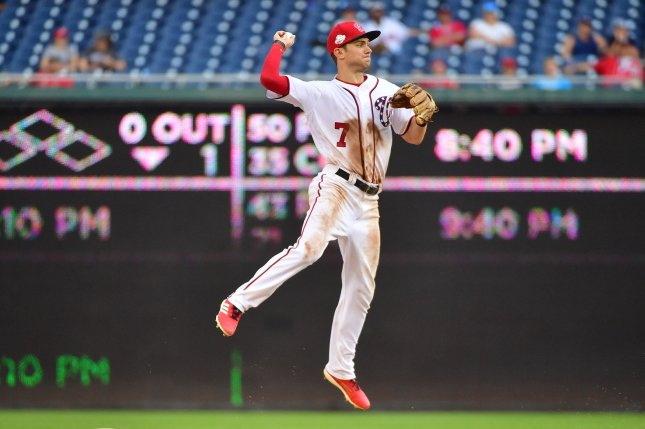 Washington Nationals shortstop Trea Turner has been placed on the injured list by the team after fracturing his right index finger, against the Phillies in the first inning of Tuesday's 8-2 loss. File Photo by Kevin Dietsch/UPI