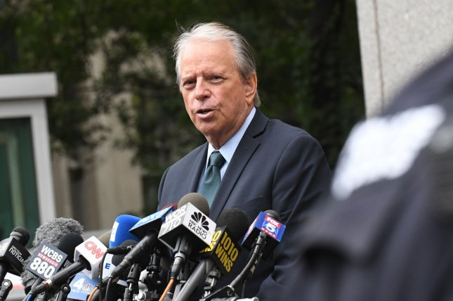 Attorney for alleged victims of Billionaire Jeffrey Epstein Stan Pottinger speaks to the media outside Manhattan Federal Court on Thursday in New York City. Photo by Louis Lanzano/UPI