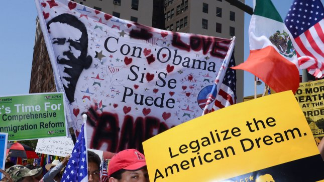 Thousands of demonstrators gather in Los Angeles on May 1, 2013, as part of May Day national marches and rallies, energized by the possibility of immigration reform. Today's demonstrations are intended to press Congress to enact legislation ending deportations. UPI/Jim Ruymen