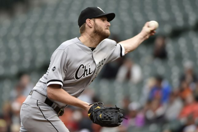 Chicago White Sox starting pitcher Chris Sale (49) delivers to the Baltimore Orioles during the second inning at Camden Yards in Baltimore, May 1, 2016. Photo by David Tulis/UPI