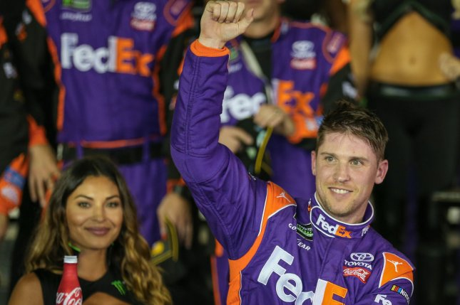 Denny Hamlin celebrates winning the Can-Am Duel at Daytona 2 on February 23, 2017 in Daytona, Florida. FIle photo by Mike Gentry/UPI