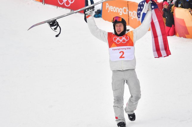 U.S. snowboarder Shaun White celebrates Wednesday after winning the gold medal in the Men's Halfpipe at the Phoenix Snow Park in Pyeongchang, South Korea. Photo by Kevin Dietsch/UPI