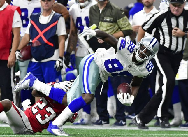 Former Dallas Cowboys wide receiver Dez Bryant fights for yardage during a game against the Atlanta Falcons in November. Photo by David Tulis/UPI