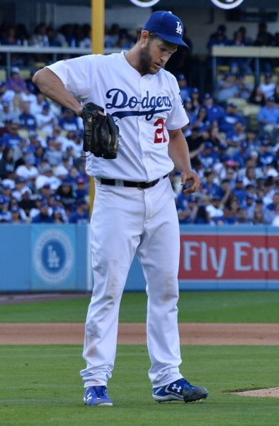 The status of Clayton Kershaw remains uncertain as the Los Angeles Dodgers face the Colorado Rockies on Friday. Photo by Jim Ruymen