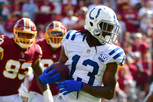 Indianapolis Colts wide receiver T.Y. Hilton runs after making a catch against the Washington Redskins at FedEx Field in Landover, Maryland on Sept. 16, 2018. Photo by Kevin Dietsch/UPI