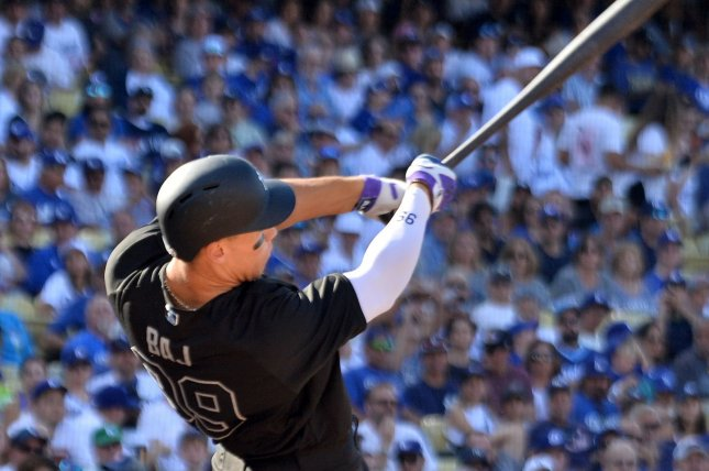 New York Yankees right fielder Aaron Judge now has 99 career home runs after hitting his 16th bomb of the season against the Los Angeles Dodgers Sunday in Los Angeles. Photo by Jim Ruymen/UPI