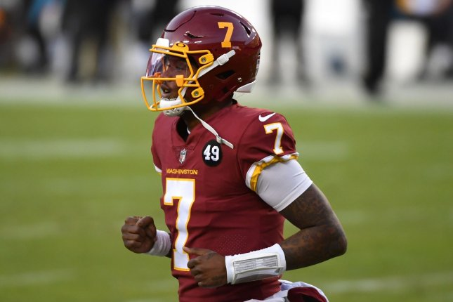 Washington Football Team quarterback Dwayne Haskins threw two interceptions and had a fumble in a loss to the Carolina Panthers on Sunday in Landover, Md. Photo by Kevin Dietsch/UPI