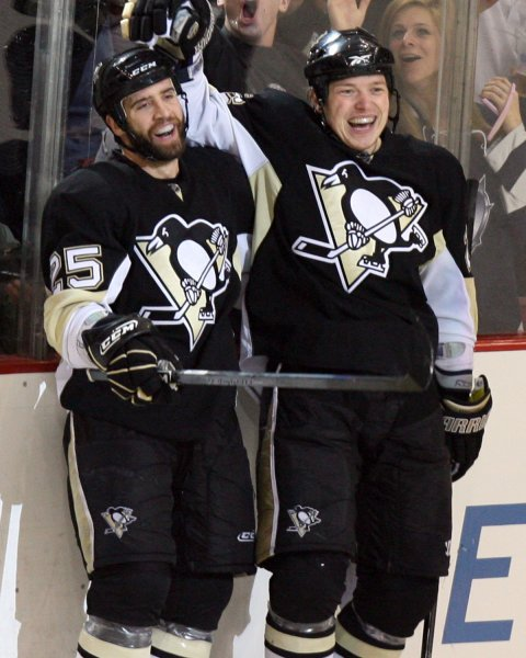 Pittsburgh Penguins Maxime Talbot (L) and Ruslan Fedotenko (R) celebrates after Talbot goal against the Washington Capitals during the third period in the fourth game of the 2009 Eastern Conference Semifinals at the Mellon Arena in Pittsburgh on May 8, 2009. (UPI Photo/Stephen Gross)