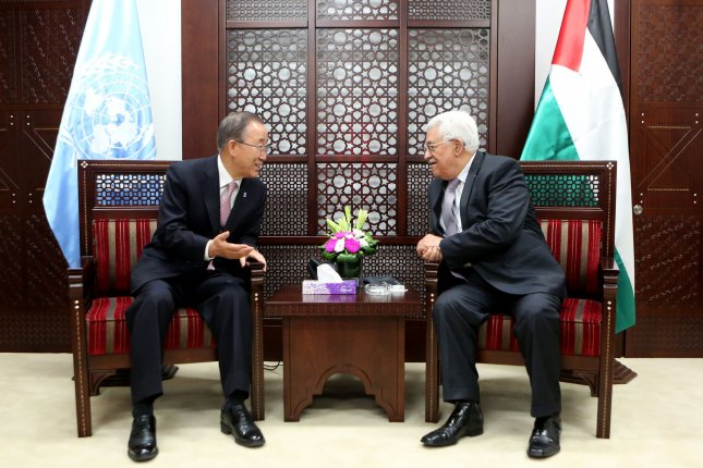 Palestinian President Mahmoud Abbas, right, meets with Secretary General of the United Nation Ban Ki-moon during a meeting Wednesday in Ramallah, West Bank. During a surprise visit to Jerusalem, Ban cautioned against an escalation of violence. Photo by Osama Falah/UPI