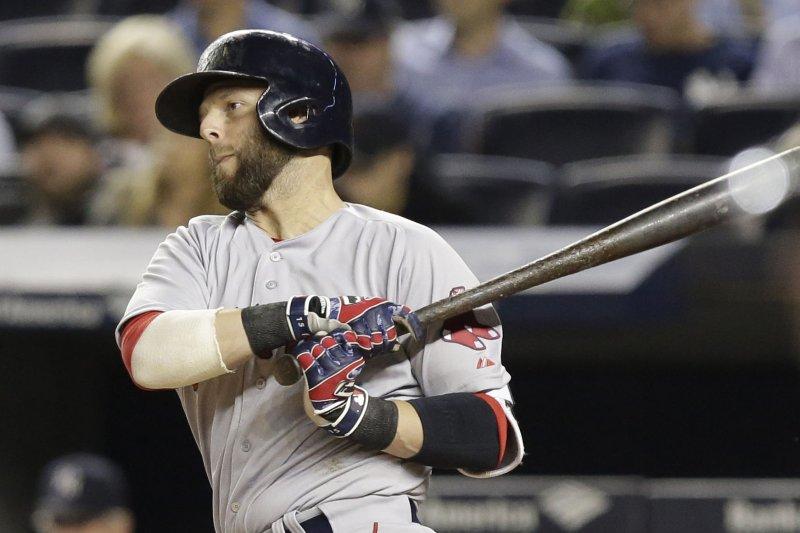Boston Red Sox's Dustin Pedroia. Photo by John Angelillo/UPI
