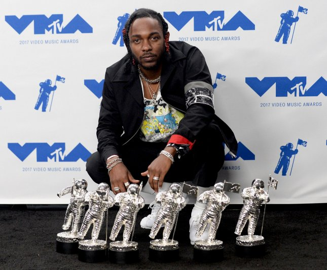 Kendrick Lamar appears backstage during the 34th annual MTV Video Music Awards on August 27, 2017. On Sunday, Lamar opened the 2018 Grammy Awards. File Photo by Jim Ruymen/UPI