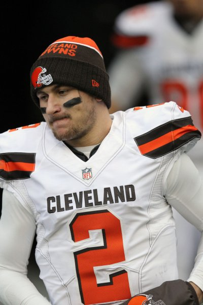 Former Cleveland Browns quarterback Johnny Manizel runs onto the field after halftime during a game against the Seattle Seahawks in November 2015. Photo by Jim Bryant/UPI