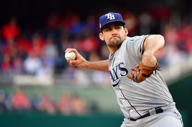 Tampa Bay Rays starting pitcher Nathan Eovaldi (24) pitches against the Washington Nationals in the first inning on June 5 at Nationals Park in Washington, D.C. Photo by Kevin Dietsch/UPI