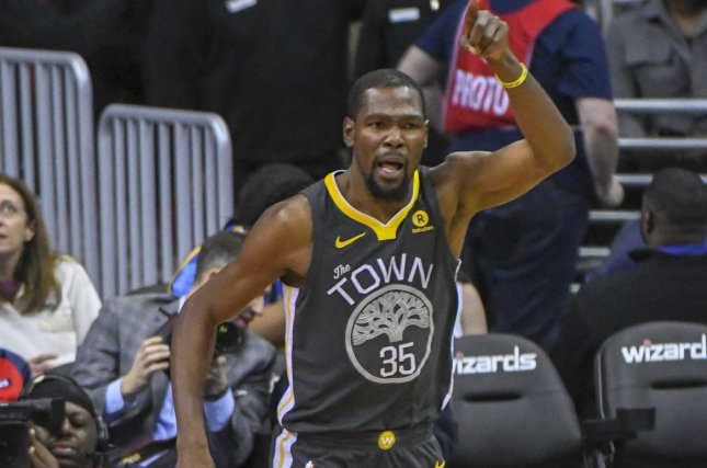 92643a2cd38 Golden State Warriors forward Kevin Durant (35) reacts after scoring in the  first half on February 28
