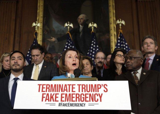 House Speaker Nancy Pelosi, Calif., said Monday the House will pass a resolution to terminate President Donald Trump's declaration of national emergency for border wall funding. Photo by Yuri Gripas/UPI